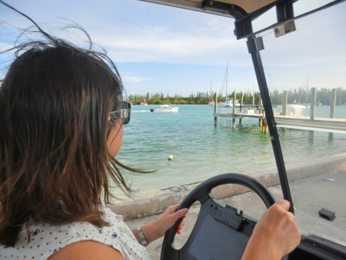 Squealing Around the Island by Golf Buggy