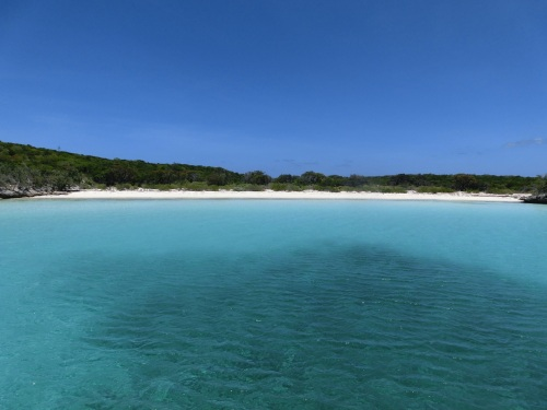 Nurse Cay, a beautiful unspoilt bay of white sands and turquoise waters.